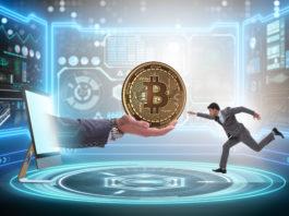 businessman in bitcoin price increase concept